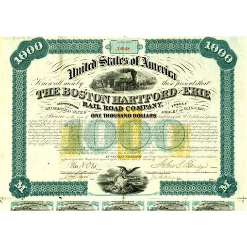1866 Boston Hartford & Erie $1000 Bond signed J. Eldridge