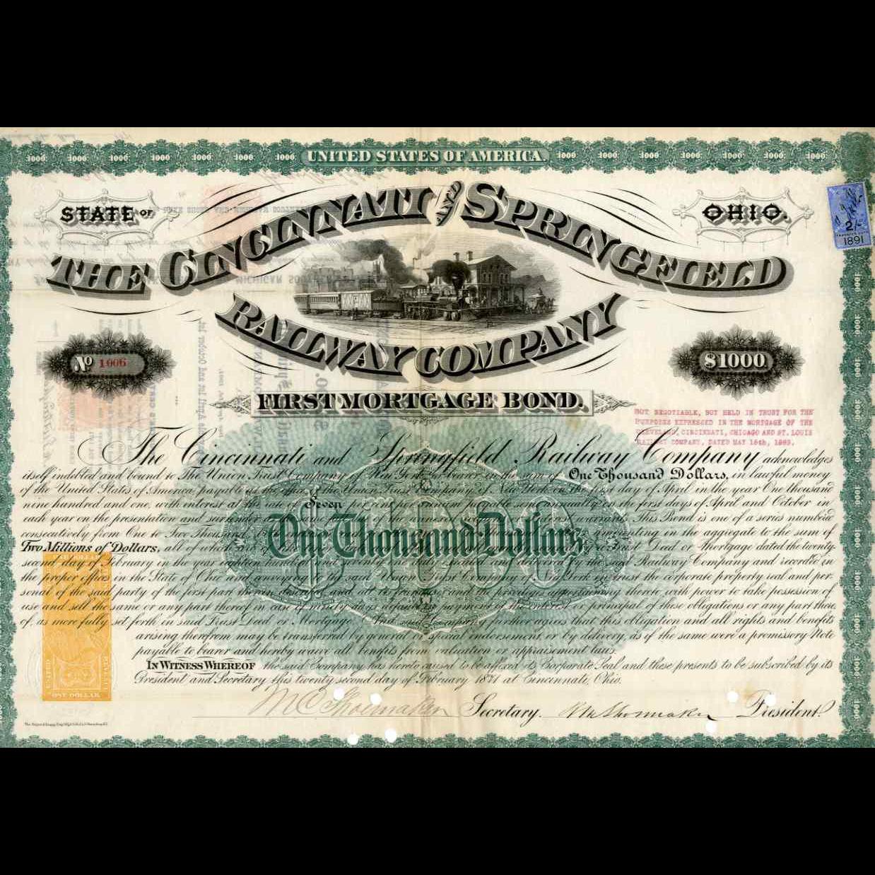 1871 Cincinnati & Springfield RR Bond with RN-W2 Revenue