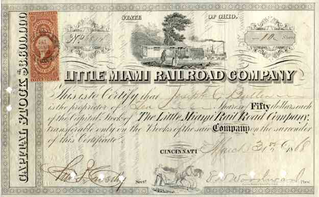 Two Early Ohio Railroad Stock Certificates -- One from 1850s, Other from 1860s.  Very Nice Locomotive Vignettes.