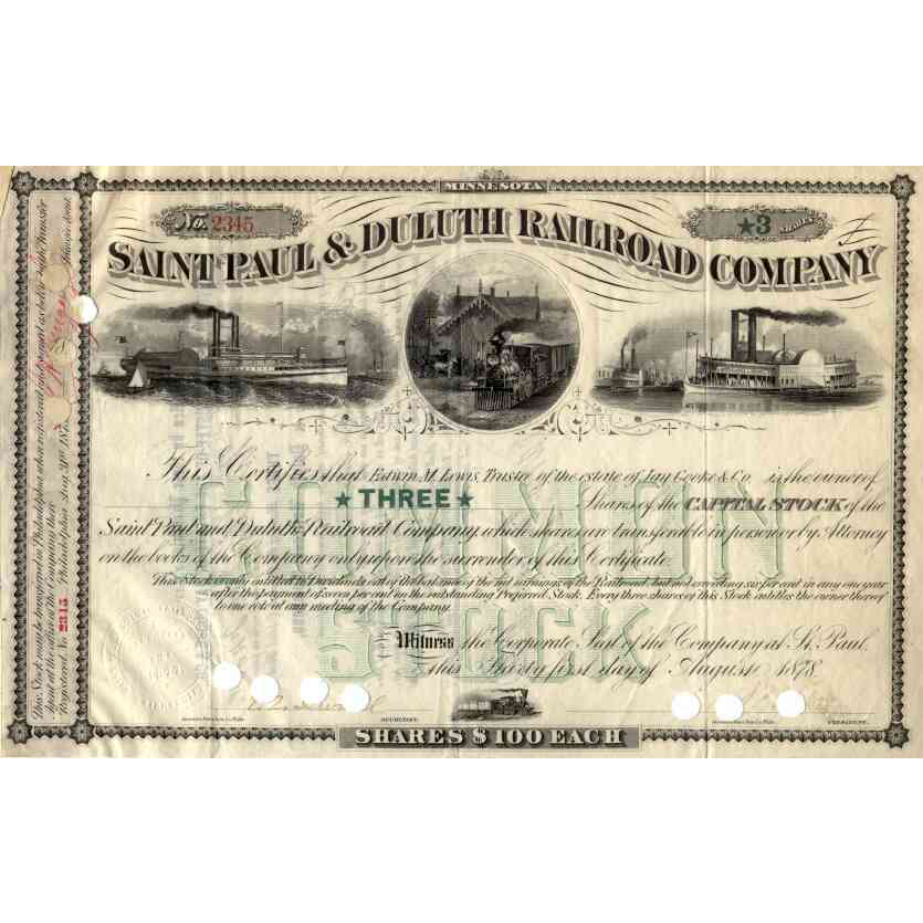 1878 Saint Paul & Duluth RR Stock Certificate