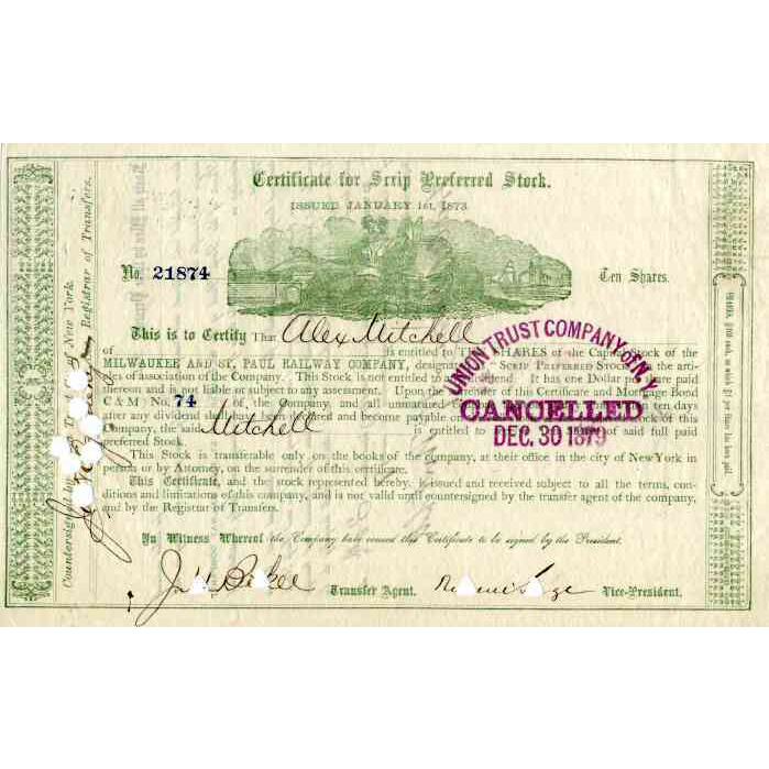 1873 Milwaukee & St Paul RW Scrip Stock Certificate  signed by Russell Sage