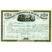 18__ Nashville Chattanooga & St Louis RR Stock Certificate signed by Cole