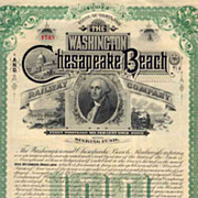 1893 Washington & Chesapeake Beach RW Bond Certificate