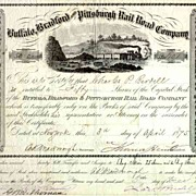 1875 Buffalo Bradford & Pittsburgh RR Stock Certificate