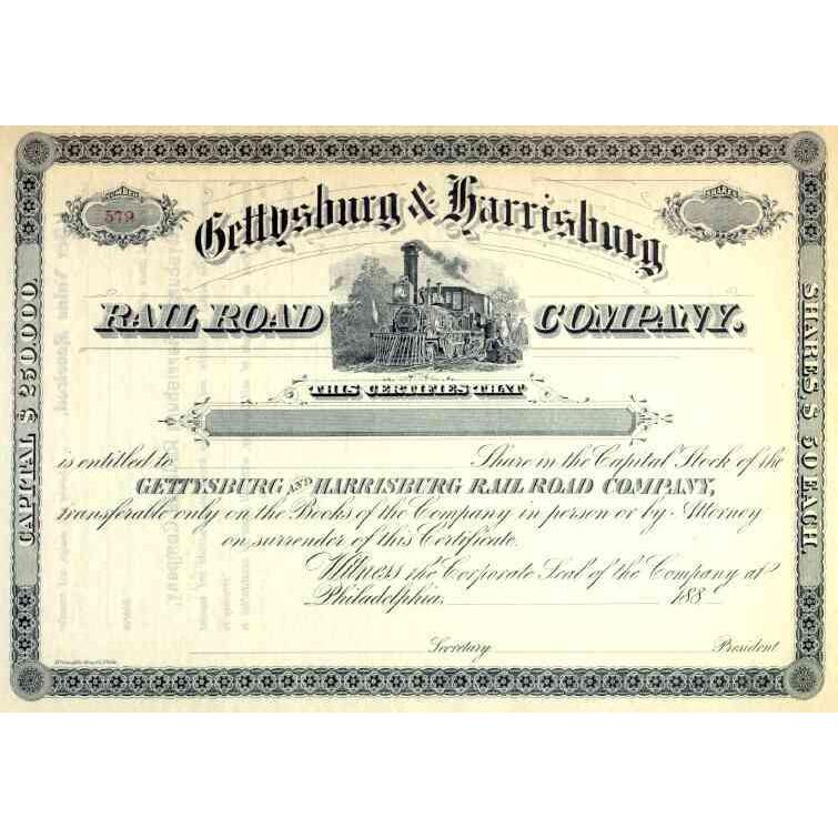 188_ Gettysburg & Harrisburg RR Stock Certificate