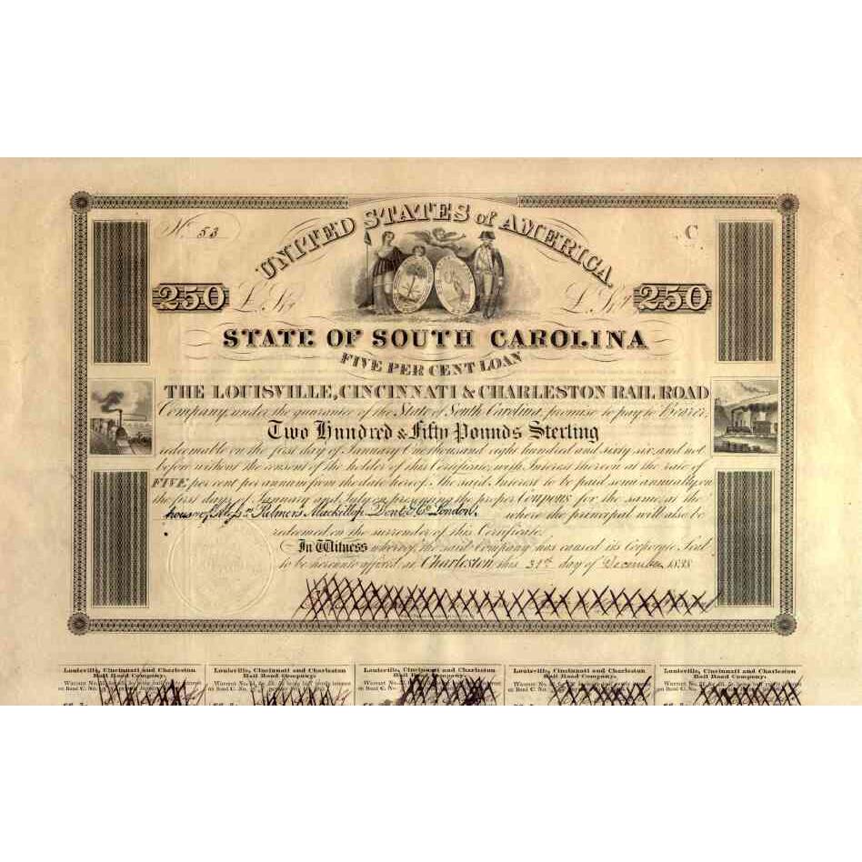 1838 Louisville Cincinnati & Charleston RR Bond Certificate (Scripophily)