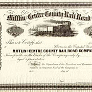 18__ Mifflin & Centre County RR Stock Certificate