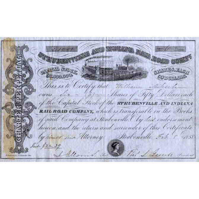 1858 Steubenville & Indiana RR Stock Certificate