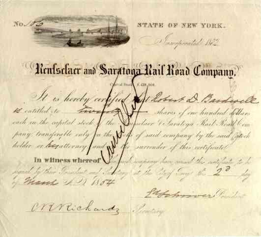 1854 Rensselaer & Saratoga RR Stock Certificate