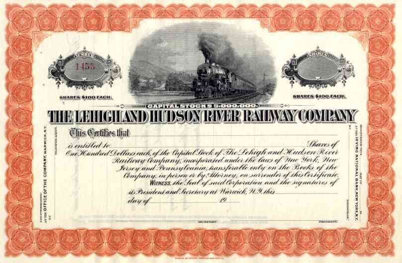 19__ Lehigh & Hudson River RR Stock Certificate