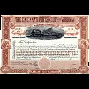 190_ Cincinnati Portsmouth & Virginia RR Stock Certificate