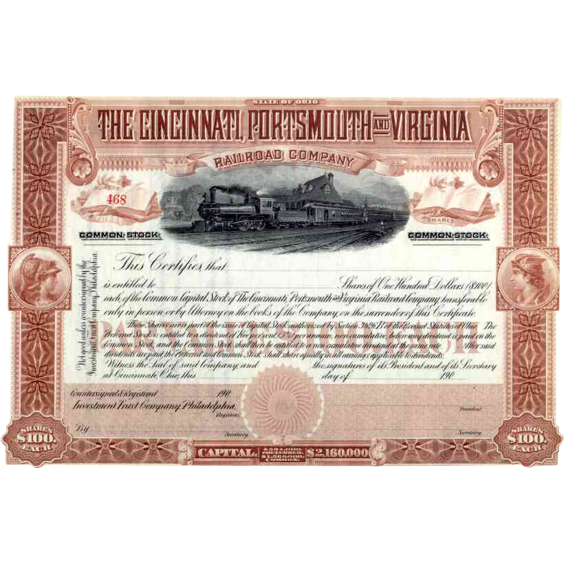 190_ Cincinnati Portsmouth & Virginia RR Stock Certificate