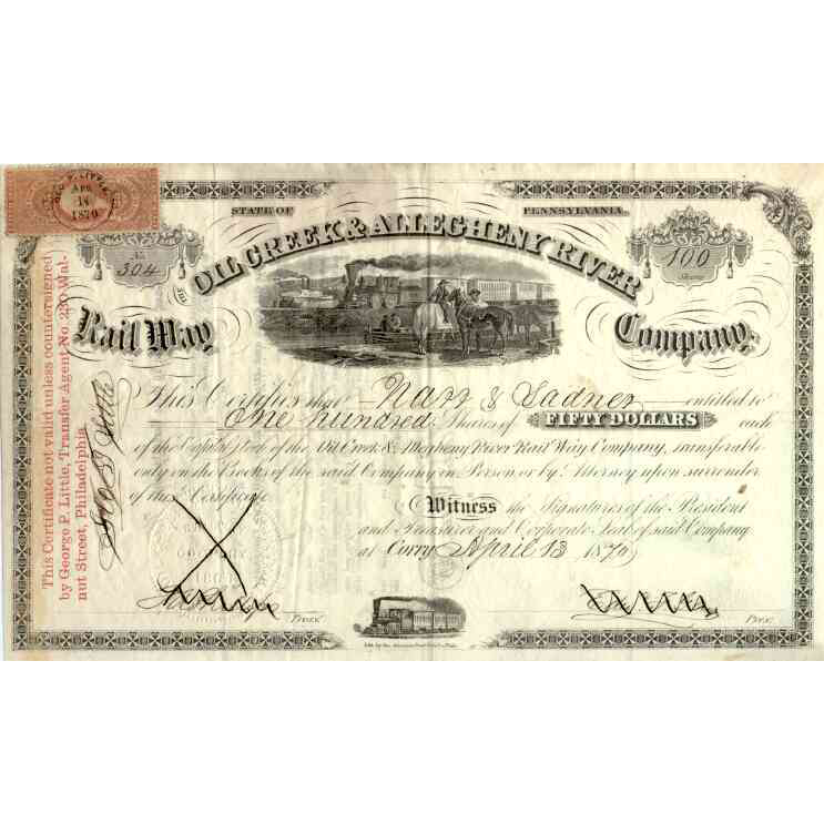 1870 Oil Creek & Allegheny River RW Stock Certificate