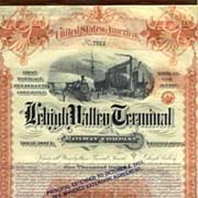 1891 Lehigh Valley Terminal RW Bond Certificate