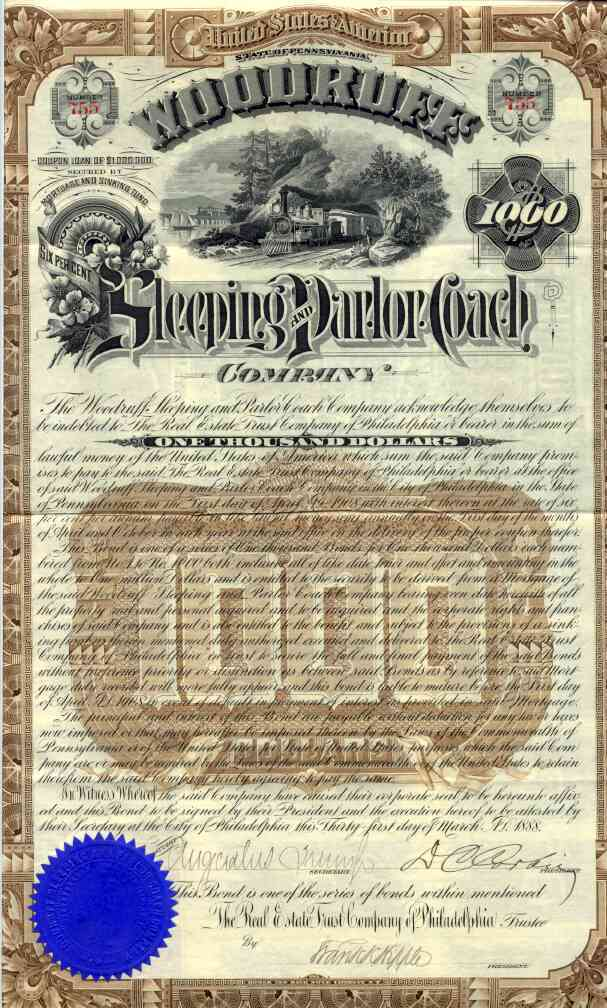 1888 Woodruff Sleeping & Parlor Coach Bond Certificate (Scripophily)