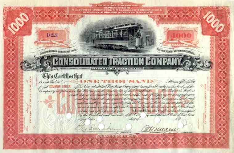189_ Consolidated Traction Co Stock Certificate