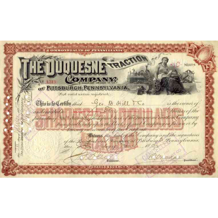 1892 Duquesne Traction Stock Certificate