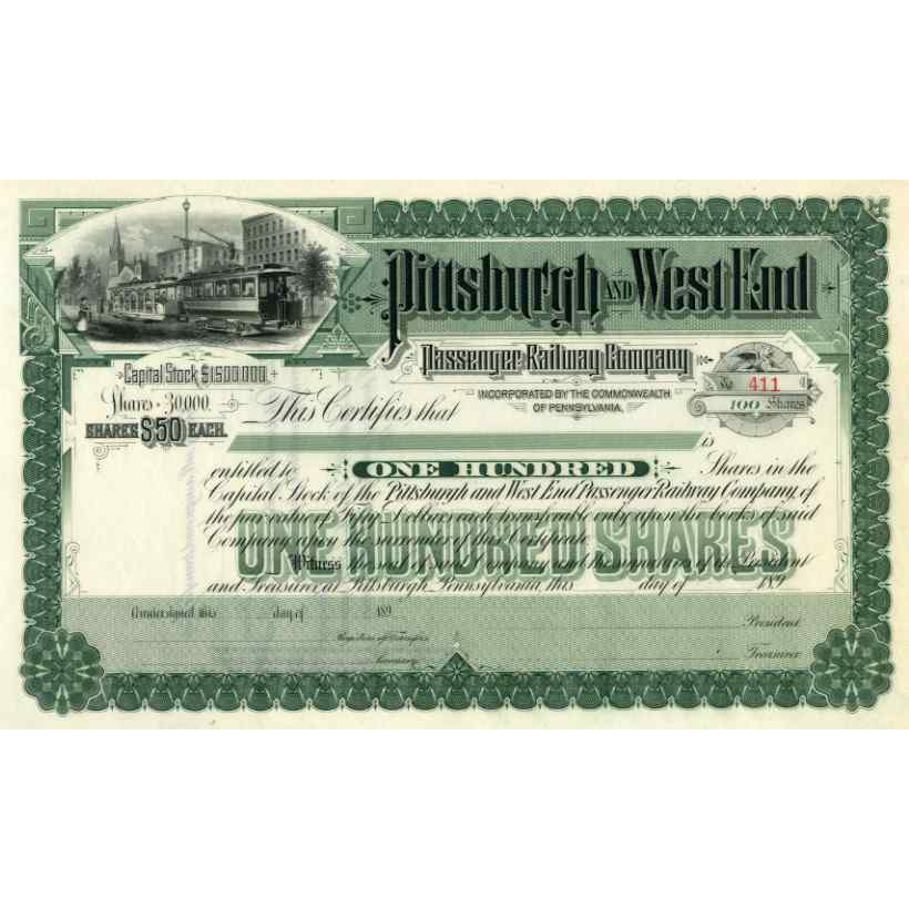 189_ Pittsburgh & West End Passenger RW Stock Certificate