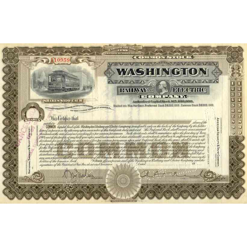 19__ Washington Railway & Electric Stock Certificate