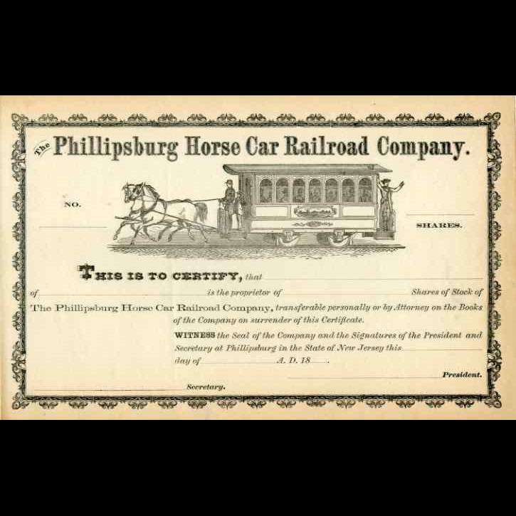 18__ Phillipsburg Horse Car RR Stock Certificate