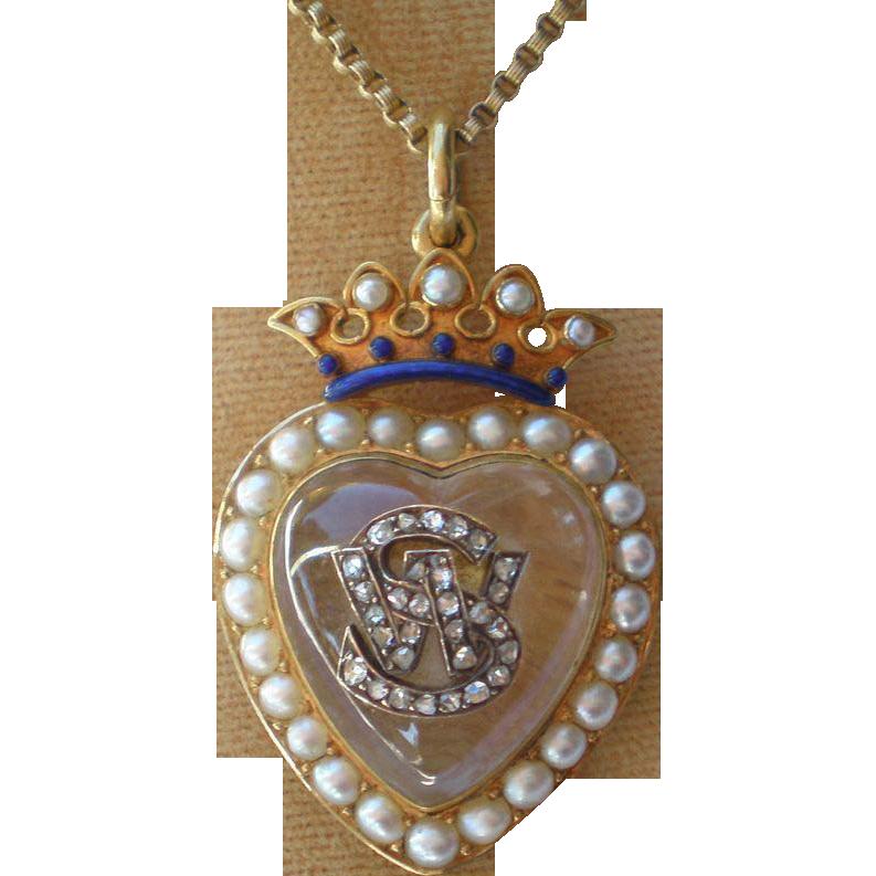 Victorian Crystal Heart Locket , 15CT , Pearls,  Rose-Cut Diamonds & Enamel