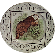 Transfer Ware Child's Plate From The Wild Animal Series, Circa 1882