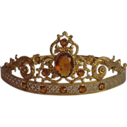French  Tiara , Brass Set With Citrine Paste 'Stones', C.1900