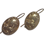 Art Nouveau  Earrings, 14K Snake Motif , Circa 1900