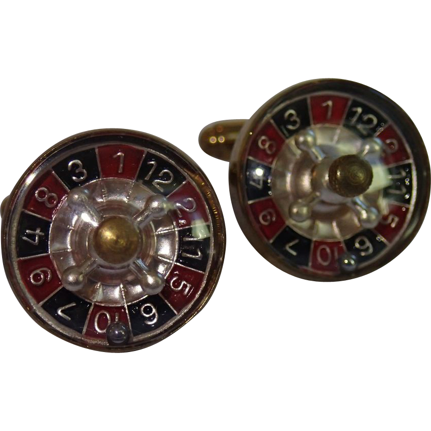 vintage roulette wheel cuff links made in austria sold on. Black Bedroom Furniture Sets. Home Design Ideas