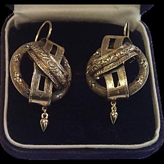 Bold Scale 14K Earrings , European C. 1870 With Buckle Motif