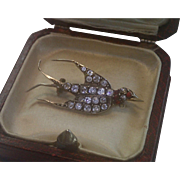 Swallow Pin , Silver & Paste ,  Antique French