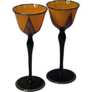 Art Deco Sterling Overlay Goblets, Czechoslovakia , C. 1930