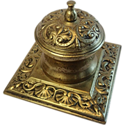 Brass Inkwell With Shell Motif , English, Circa 1870