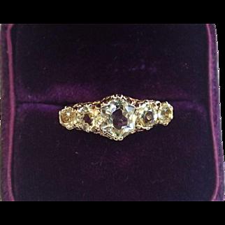 Antique, 14K  Chrysoberyl Ring , European C.  1870