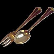 Vintage David Andersen Sterling Silver  & Enamel Fork & Spoon