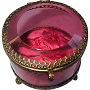 Antique Jewelry Casket , Brass With Cranberry  & Clear Glass