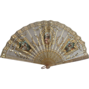 Ladies  Fan  Hand Painted On Tulle, French C. 1890