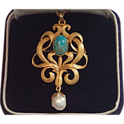 Art Nouveau Pendant / Brooch ...... Turquoise & Fresh Water Pearl Set In 14K