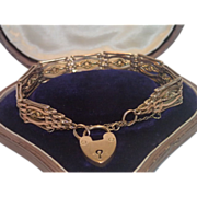 9 CT. Rose Gold , Gate Link Bracelet With Padlock Closure , C.1900