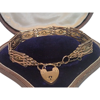 9 CT. Rose Gold , Gate Link Bracelet With Padlock Closure , C.1900