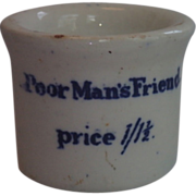 Poor Man's Friend  Medicine Jar, ......  English , Circa 1880 With Cobalt Blue Transfer Ware Lettering