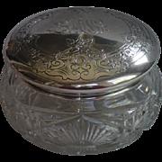 Sterling Top & Cut Glass Powder Jar By Gorham , Circa 1900