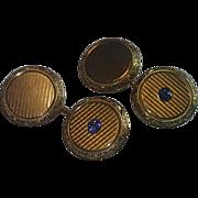 Vintage Cufflinks , 14K Yellow Gold & Sapphires, Circa 1920