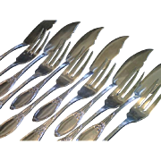 French, Adolphe Boulenger Silverplate 12 Piece  Fish Set
