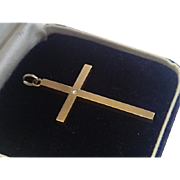 Antique Cross Pendant, 14K  With Diamond