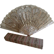Antique Fan In Original Box;  Mother Of Pearl , Metallic Mesh, Silk & Sequins - Red Tag Sale Item