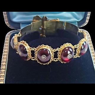 Victorian Buckle Bracelet ;  14K Set With Carbuncle  Garnets & Rose-Cut Diamonds ...... Exquisite !