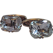 Rock Crystal Quartz Cufflinks , 875 Silver With Russian Hammer & Sickle Mark
