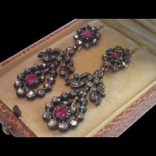 Georgian Pendant Earrings ;  Rose-Cut Diamonds, Rubies ,  Silver & Gold