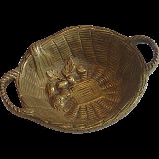 Solid Brass Vintage Basket Made In Belgium